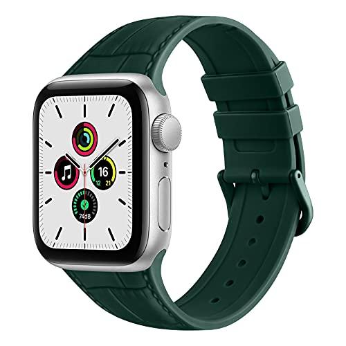 ZHIX Correa Compatible con Apple Watch 44mm 42mm 38mm 40mm,Cuero Diseño de Textura Silicona Pulseras de Repuesto de Correa para iWatch Series SE 6 5 4 3 2 1,Mujer y Hombre(38mm/40mm,Verde Oscuro)