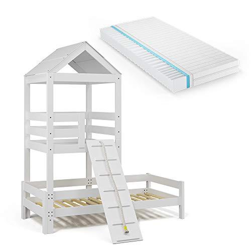 VitaliSpa Kinderbett Teddy 90x200cm Spielturm Bett Spielbett Jugendbett Hausbett (Bett + Matratze)
