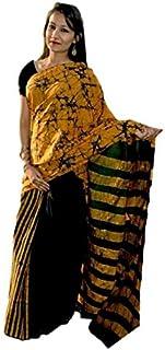FEMEZONE Hand Block Printed Print Cotton Mul Sarees For Women,Traditional Multi Color Sari.Bagru Hand Block Printed Saree