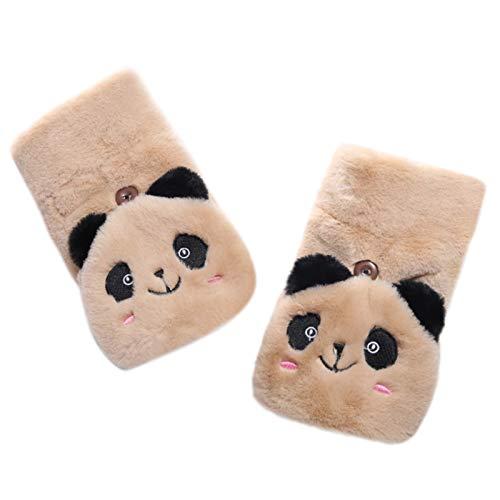 Guangzhou Frauen Winter Half Finger Handschuhe Flauschige Plüsch Cartoon Panda Flip Top Warme Fäustlinge Winterhandschuhe Khaki