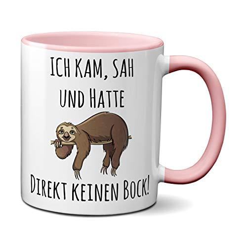Tasse mit Spruch ICH KAM, SAH UND HATTE DIREKT KEINEN BOCK! - Geschenk für Kollegin, Chef, Chefin Sprüche Tassen rosa lustig