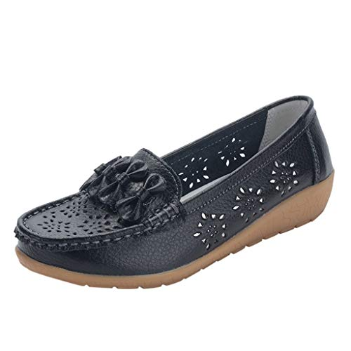 Read About Women Loafers Shoes Black Slip-on Bow Low Wedges Ballet Flats Lady Floral Hollow Breathable Comfortable Walking Shoes