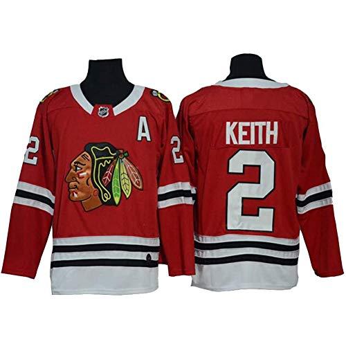 HYQ Duncan Keith # 2 Eishockey Trikots Chicago Blackhawks, Männer Sweatshirts Breath Langarm-T-Shirt Mit Logo/Spielernummer (M-XXXL),Rot,XXL