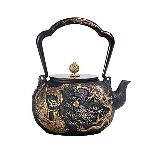 Cast Iron Teapot 1.2L Handmade Japanese Tea Kettle Chinese Dragon Pattern Tetsubin Healthy Cast Iron Tea Pot (Color : C)
