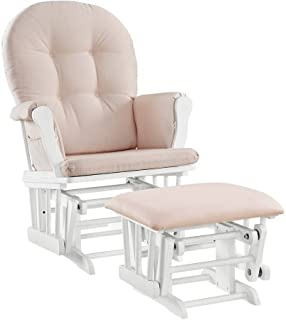 Windsor Glider and Ottoman White Finish and Pink Cushions Enclosed metal bearings Solid wood frames