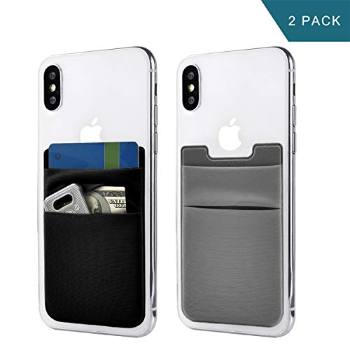 Newseego 2 Pack de Tarjeta de teléfono Celular Wallet [Double Pouch] Stick on Wallet Tarjetero de teléfono Phone Pocket Pouch Stretchy Phone Sleeve para iPhone & Android(Negro y Gris)