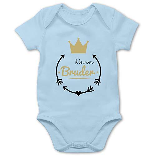Geschwisterliebe Baby - Kleiner Bruder - Krone - 1/3 Monate - Babyblau - Big Sister Little Brother - BZ10 - Baby Body Kurzarm für Jungen und Mädchen