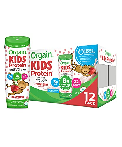 Orgain Organic Kids Protein Nutritional Shake, Strawberry - Great for Breakfast & Snacks, 22 Vitamins & Minerals, Fruits & Vegetables, Gluten Free, Soy Free, Kosher, Non-GMO, 8.25 Ounce, 12 Count