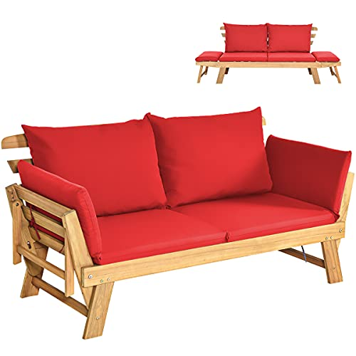 COSTWAY Outdoor Sofa Bed, 3 in 1 Convertible Cushioned Loveseat Lounger Couch with Folding Armrests and Pillows, Garden Patio Yard Wooden Recliner Chair Daybed (Red)