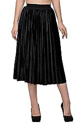 Fashion & Fusion BLack Pleatted Velvet Skirt