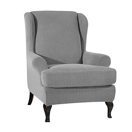 VanderHOME Stretch Sofabezug Ohrensessel husse ohrensessel bezug 1 Sitzer Stretch und antirutsch Sesselhusse Stretch sesselhussen Sessel bezug husse für ohrensessel hellgrau