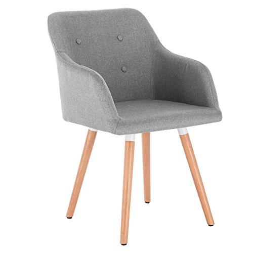 WOLTU 1x Esszimmerstühle Küchenstuhl Wohnzimmerstuhl Design Stuhl Polsterstuhl mit Armlehne Leinen Massivholz Hellgrau BH88hgr-1