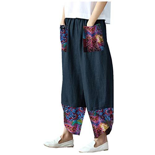 WUAI-Women Casual Loose Elastic Waist Drawstring Palazzo Pants Plus Size Boho Cotton Linen Cropped Wide Leg Pants(Navy,5X-Large)