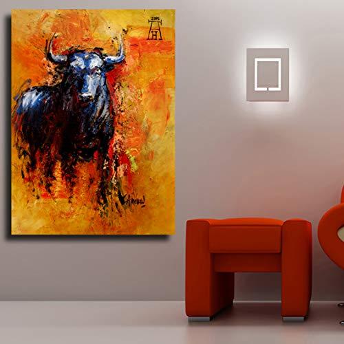 Danjiao Wohnkultur Stier Tier Ölgemälde Auf Leinwand Wandbilder Für Wohnzimmer Wandkunst Bild Poster Und Drucke Wohnzimmer 60x90cm