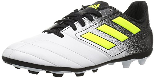 adidas Boys' ACE 17.4 FxG J, White/Solar Yellow/Black, 1.5 Medium US Little Kid