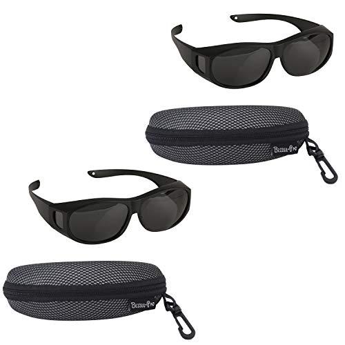 BEZZEE PRO Sonnenbrille Überziehbrille für Brillenträger Polarisiert, Männer & Frauen Radfahren gegen Blendung - leicht - komfortabel - Sonnenüberbrille über normale Brillen (schwarz) (2 Pack)