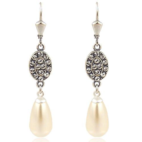 Jugendstil Perlenohrringe mit Kristalle von Swarovski® Silber Cream Pearl NOBEL SCHMUCK