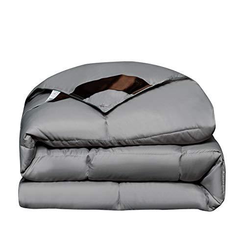 YRRA Bettdecke aus Baumwolle, dicke Bettdecke, für den Winter, weich, warm, seidig warm, bequem, für Schlafzimmer und Zuhause, Grau, 220 x 240 cm (3 kg)