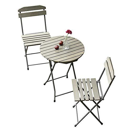Qazxsw Juego de Mesa y Silla para balcón de 3 Platos de plástico de Madera Mesa y sillas Plegables para Patio de jardín Creativo Mesa y Silla pequeña para Exteriores de Ocio Estilo nórdico