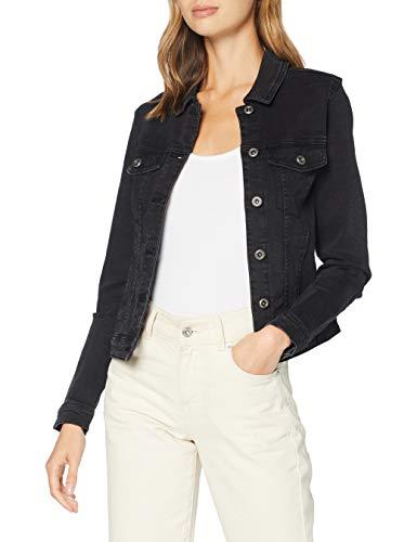 PIECES Damen PCAIA Fitted LS DNM Jacket LB/BLC Box BC Jeansjacke, Black, XL