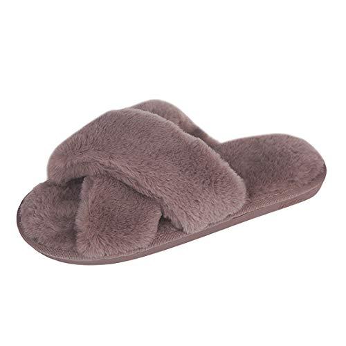 Jodimitty Zapatillas de estar por casa para mujer, de felpa, cálidas, antideslizantes, planas, cómodas, esponjosas, sandalias para mujer, chanclas de piel sintética, para interior y exterior
