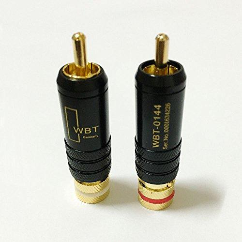 10Pcs Copper RCA Male Connector WBT-0144 Signal Line RCA Plug Lotus Head Gold Plated