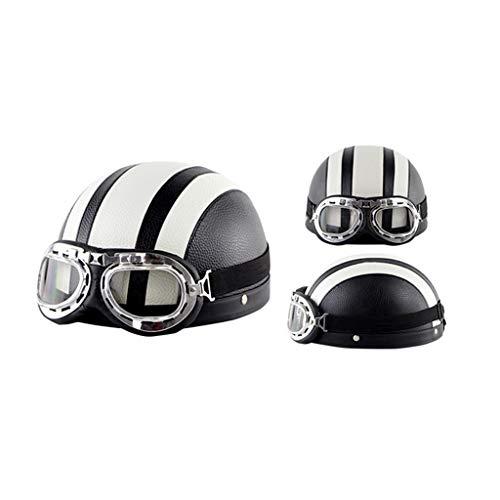 Retro Open Face Motorcycle Half Helmet, Half Vintage Helmet Best Young Men and Women Motorcycle Helmet DOT Certified Cruiser Pilot Half Helmet(55=60CM)