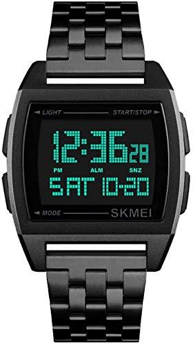 JSL Rectangulares hombres s correa de acero reloj de los hombres de negocios s reloj electrónico multifunción hombres s reloj-Negro