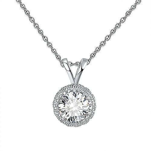 S925 plata de ley redonda solitaria circonita cúbica con halo lateral acentuado, collar chapado en rodio fino SN215