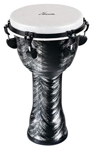 XDrum Djembe Silver Brush 50cm Djembe aus PVC - Korpus aus Kunststoff mit traditionellem Stimmsystem - Kunststoff Fell in Naturoptik - Silber