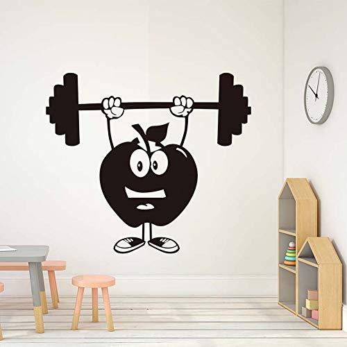 Fitness Wandaufkleber Kinderzimmer kreative Bar Wandaufkleber Apfel und Apfel Aufkleber entfernbare wasserdichte Tapete |Wandaufkleber50cm x 44cm