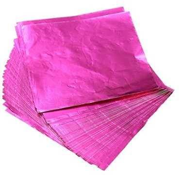 Yixinlifeas Bild Rose Red Glossy 8 * 8cm, 100 Blatt 1 Packung, handgefertigte Origami-Lebensmittel Tee Verpackung Aluminiumfolie Papier Schokolade Zinnfolie
