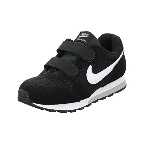 Nike MD Runner 2 (PSV), Scarpe da Ginnastica Unisex-Bambini, Multicolore Black White Wolf Grey Rush Pink 000, 30.5 EU