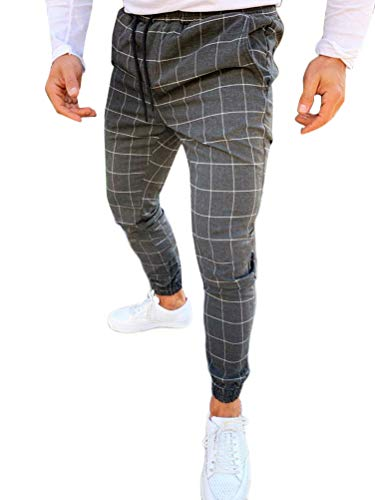 OranDesigne Herren Freizeithose Karierte Hose Streetwear Lang Pants Sporthosen Trainingshose Sweatpants mit Gummibund Dunkelgrau M