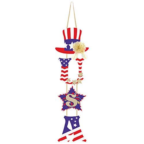 Unomor 4th of July Decorations - U.S.A Door Hanging Decoration with Pull Bow for Independence Day -...
