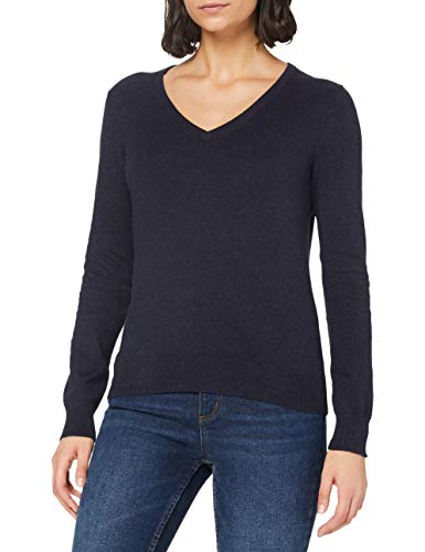 Marchio Amazon - MERAKI Pullover Cotone Donna Scollo a V, Blu (Navy), 44, Label: M