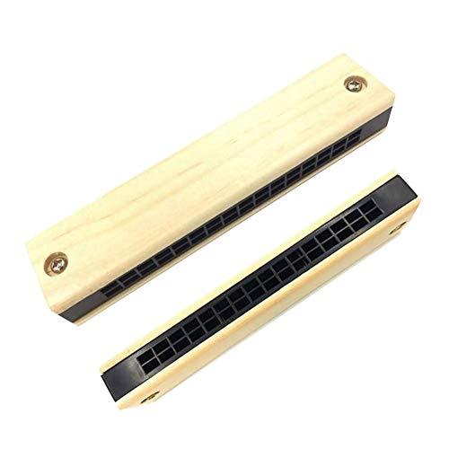 HshDUti 16 Holes Harmonica en bois à double rangée, instrument de musique pour l'éducation préscolaire Wooden