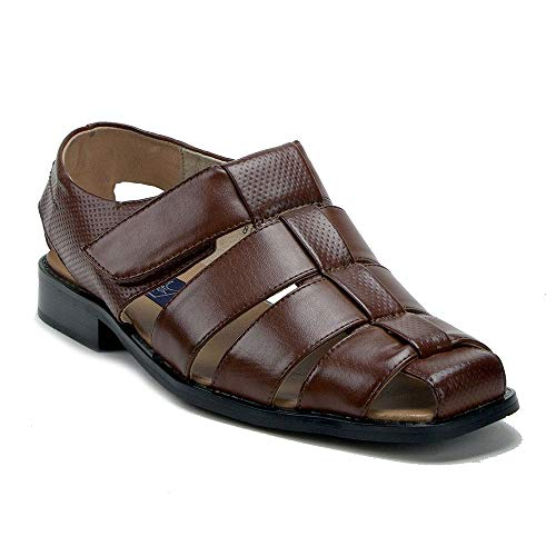 Men's 44327 Caged Leather Lined Closed Toe Fisherman Dress Sandals, Cognac, 11