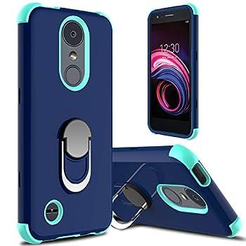 lovpec Case for LG Aristo 3 for LG Aristo 2/Aristo 2 Plus/LG Tribute Empire Case Ring Magnetic Holder Kickstand Phone Case for LG Rebel 4 LTE/LG Phoenix 4/LG Tribute Dynasty/Zone 4  Navy