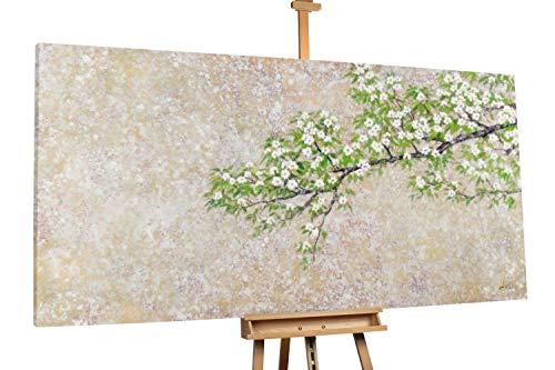 Kunstloft® Extraordinario Cuadro al óleo 'Waldrand' 200x100cm | Original Pintura XXL Pintado a Mano sobre Lienzo | Abstracto Flores Rosa Blanco | Mural de Arte Moderno