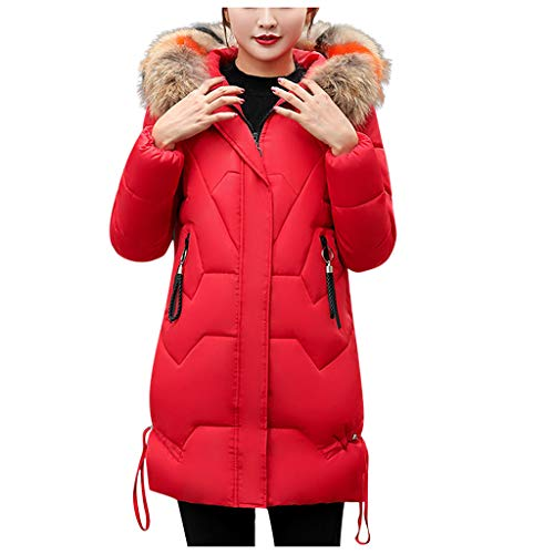 Zottom Damen Elegante Strickjacke einfarbig langärmelig großen Pelzkragen mit Kapuze Lange Dicke Baumwolle gepolsterten Mantel Mantel(Rot,XX-Large)