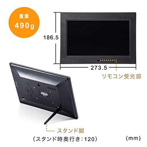 サンワダイレクトデジタルフォトフレーム10インチ1024×600画素SD/USB写真動画音楽時計/カレンダー/アラーム機能リモコン付ブラック400-MEDI031BK
