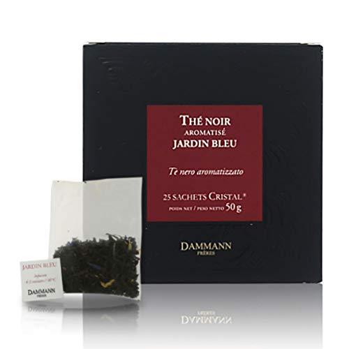 Pasticceria Passerini dal 1919 Dammann Jardin Bleu - Thé Noir parfumé à la rhubarbe et aux Fraise, 25 sachets Cristal - Dammann Frères