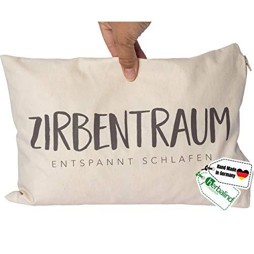 Herbalind Natur Zirbenkissen Zirbentraum in Braun mit Reißverschluss 30x20 cm - Edles Zirben Kopfkissen 100% Baumwolle Zirbe, Tiroler Zirbenflocken Duftkissen, Zierkissen als Geschenk