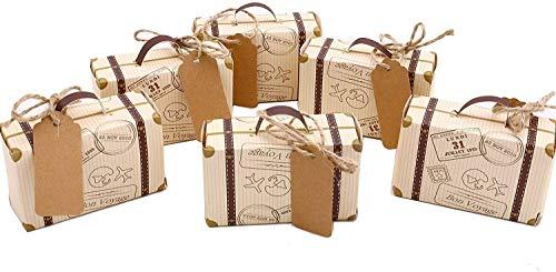 Gift Boxes Set van 50 Vintage Mini Koffer Candy Box Decoratie Doos met jute voor Bruiloft Party Verjaardag Baby Douche