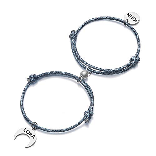 Juego de pulseras magnéticas para parejas Pulsera de amante ajustable de cuerda hecha a mano para novio Novia Pulsera de sol y luna Pulsera de identificación de nombre personalizado 2 piezas