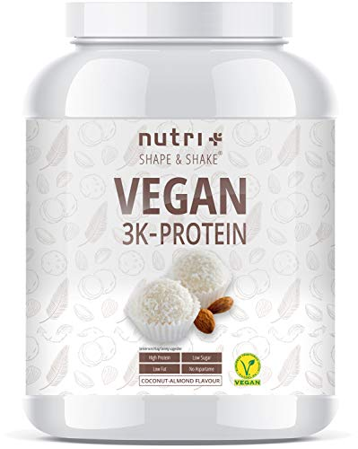 PROTEIN VEGAN Kokos Mandel 1000g - 83,8% Eiweiß - 3k blend Pulver - Veganes Eiweißpulver ohne Laktose - wenig Kohlenhydrate - Kokosnuss Proteinpulver - Coconut Almond Flavor Powder