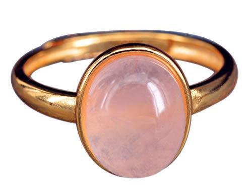 NicoWerk Damen Silberring Rosenquarz aus 925 Sterling Silber Oval Golden mit Stein Edelstein Verstellbar Offen SRI384