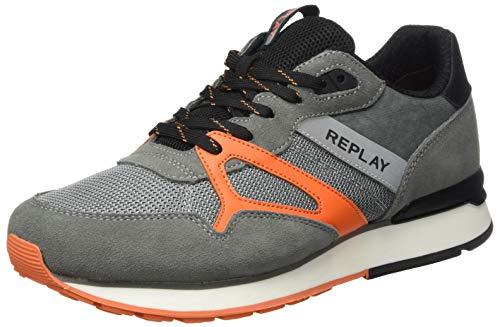 Replay Herren Adrien - DELT Sneaker, Orange (Dk Grey Orange 1766), 42 EU