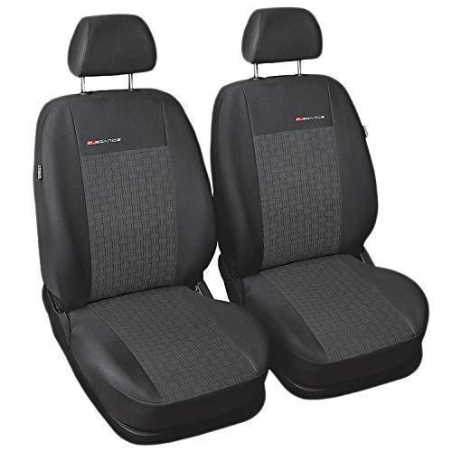 Carpendo Sitzbezüge Auto Vordersitze Autositzbezüge Schonbezüge Vorne Dunkelgrau-Grau mit Airbag System - Elegance P1